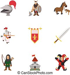 Medieval knight icons set, cartoon style