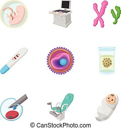 Baby in stomach icons set, cartoon style - Baby in stomach...