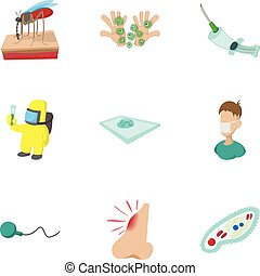 Virus malaria icons set, cartoon style