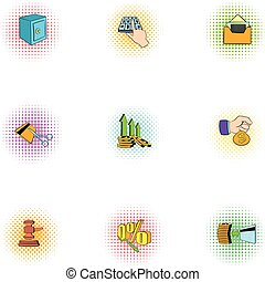 Wherewithal icons set, pop-art style - Wherewithal icons...
