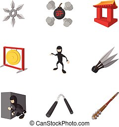 Ninja icons set, cartoon style - Ninja icons set. Cartoon...