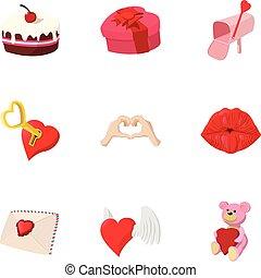 14 February icons set, cartoon style - 14 February icons...