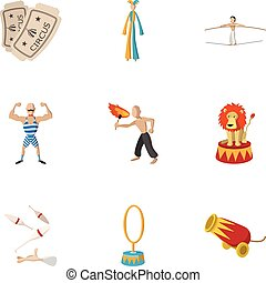 Concert in circus icons set, cartoon style - Concert in...