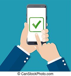 Checkboxes on smartphone screen.