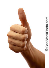Photographed close up on white mans hand with thumb up shows...