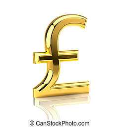 Golden pound sign on white - The pound sign, built in...