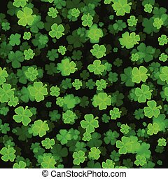 Shine Shamrocks on black backgraund. Seamless - Shine...