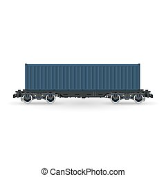 Platform with Cargo Container Isolated - Cargo Container on...