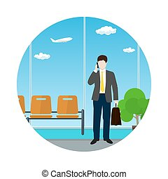 Icon Waiting Room with Businessman - Icon a Man with a...