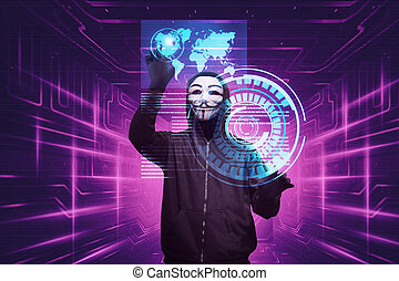 Hacker man with anonymous mask hacking system security on...
