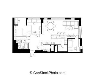 Architectural plan with the furniture. Modern plan of the...
