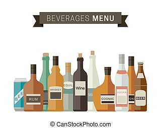 Alcoholic Beverages - Beverages menu with bottles of...