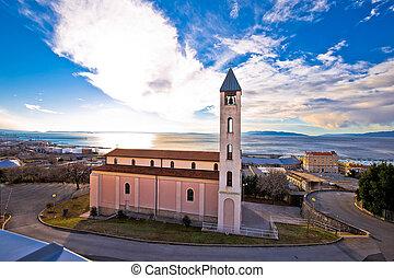 Church and coastline in Rijeka, city in Kvarner bay of...