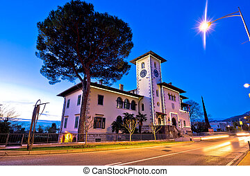Opatija Town hall and street evening view, Kvarner bay of...