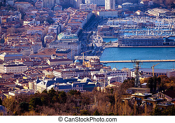 Trieste city center aerial view, capital of Friuli-Venezia...
