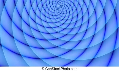 Blue half of rays sphere. Animated abstract illustration of bright blue cyan spirals rotating on white background. Colorful animation, seamless loop