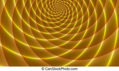 One half of golden rays sphere. Animated abstract illustration of bright yellow orange spirals rotating on white background. Colorful animation, seamless loop