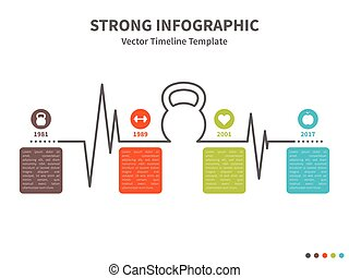 Kettlebell infographic - Vector infographic colorful...