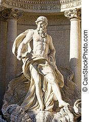 Neptune statue - The Neptune statue of the Trevi Fountain in...