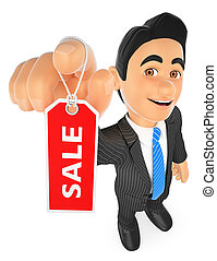3D Businessman showing a tag with the word sale