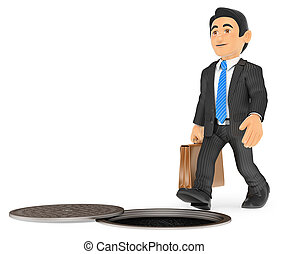 3D Businessman about to fall by an open sewer. occupational...
