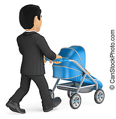 3D Businessman pushing a baby stroller
