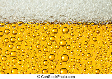Macro of refreshing beer - Close-up of sweaty glasses of...