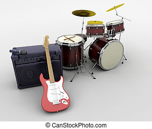 drum kit and guitar - 3d render of a guitar amplifier and...