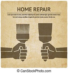 hand with trowel and brush. home repair paint concept - hand...