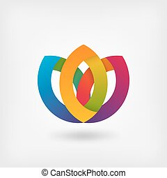abstract symbol flower in rainbow colors. vector...