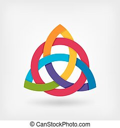 abstract symbol triquetra in rainbow colors. vector...