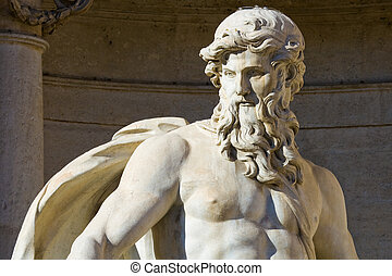 Close up of the Neptune statue of the Trevi Fountain in...
