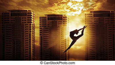 High Rise Building and Sport Woman Dancing Jump, Girl Dancer...