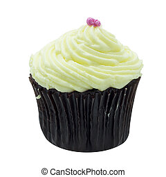 Vanilla cup cake topping with milk cream