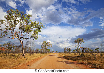 Unsealed road in the outback of Western Australia - An...
