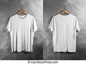 Blank white t-shirt front back side view hanger, design...