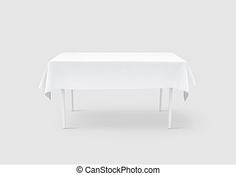 Bank white table cloth mock up, clipping path, 3d rendering....