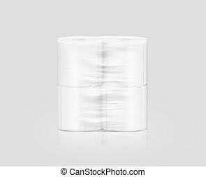 Blank white toilet paper roll packaging mockup, isolated,...