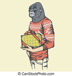 Illustration of African gorilla in human sweatshirt or...