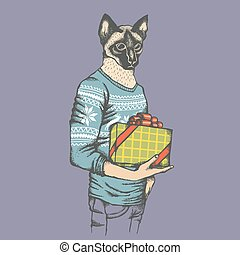 Cat in human sweatshirt with gift illustration - Cat vector...