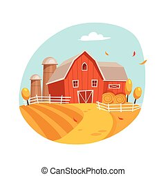 Autumn Scenery With House And Barn On The Field, Farm And...