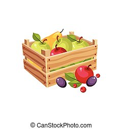Wodden Crate Full Of Garden Fruits, Farm And Farming Related Illustration In Bright Cartoon Style