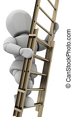 man climbing a ladder to achieve success - 3D render of a...
