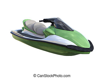 3D Rendering Jet Ski on White - 3D rendering of a jet ski...
