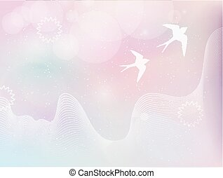 flying birds in pastel