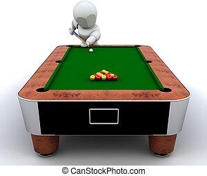 man playing pool - 3D render of a man playing pool