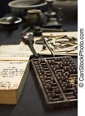 ábaco, livro, tabela