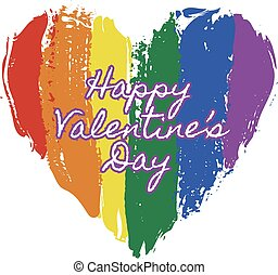 heart in rainbow colors - LGBT heart in rainbow colors with...
