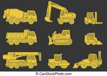 Construction machinery icons. - Construction machinery line...