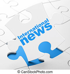 News concept: International News on puzzle background - News...